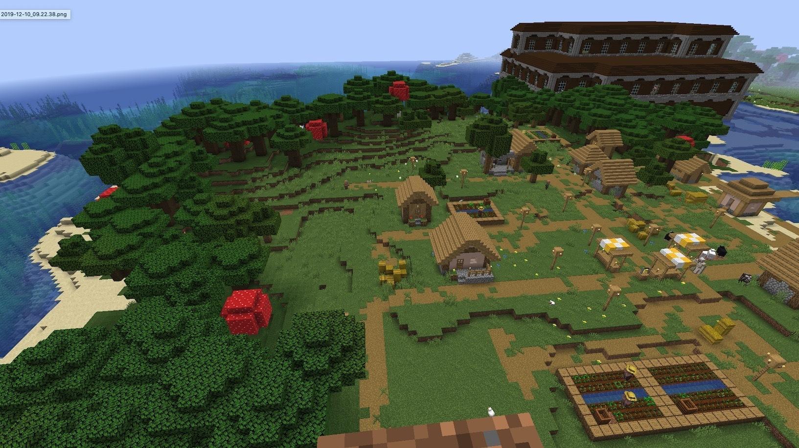 森の洋館と村の共存